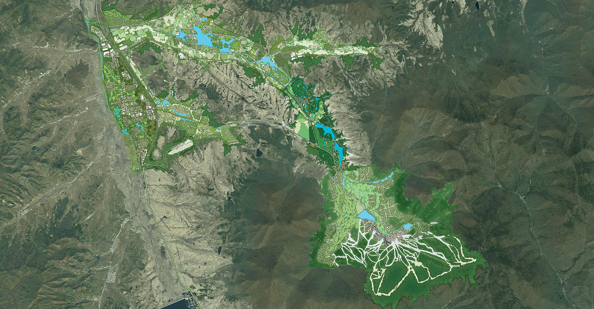 Bei Da Hu New Town Development WATG Six Functional Zone Regional Map