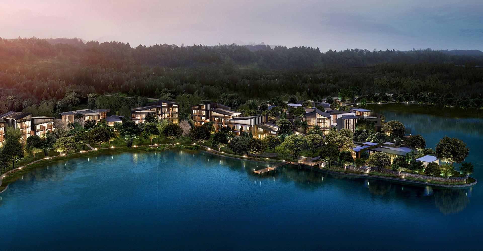 Xianhai Boutique Resort - Mianyang China - WATG - Aerial